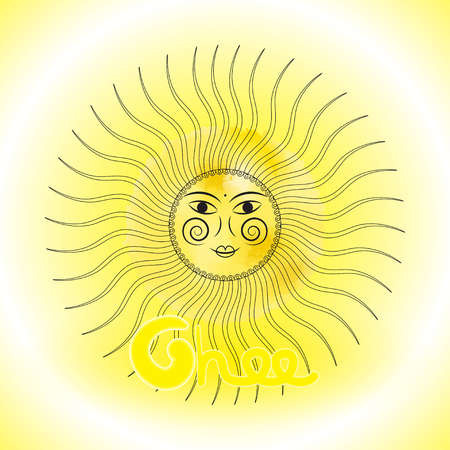 slavs: Design sun in Slavs style, design of ghee, sun protection. Vector illustration