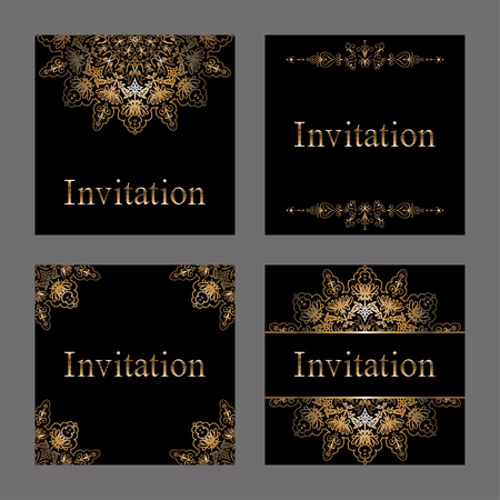 printed media: Vector set of Invitation cards with golden foil, patterns. border and snowflakes. Premium templates for web or printed media design.