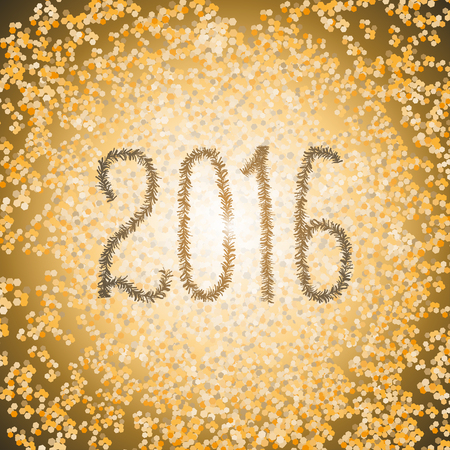 trumpery: New Year 2016 lettering of Christmas tinsel font. Vector gold illustration Illustration