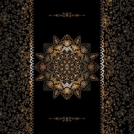 Vecteur de cartes d'invitation avec des feuilles d'or, des motifs. Bordure et flocon de neige Vecteurs