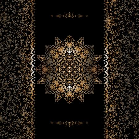 Vector de las tarjetas de la invitación con la hoja de oro, patrones. frontera y copo de nieve Ilustración de vector