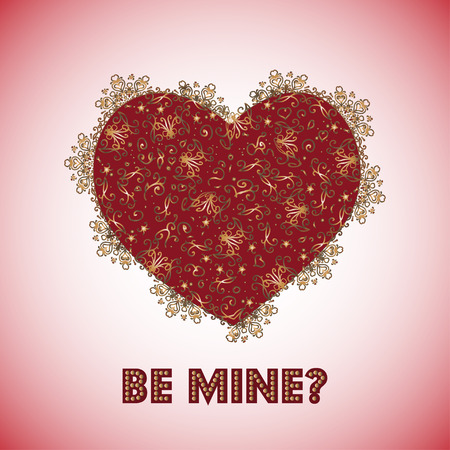 be mine: Be mine text on the Card with patterns red retro hearts to the St. Valentines Day.
