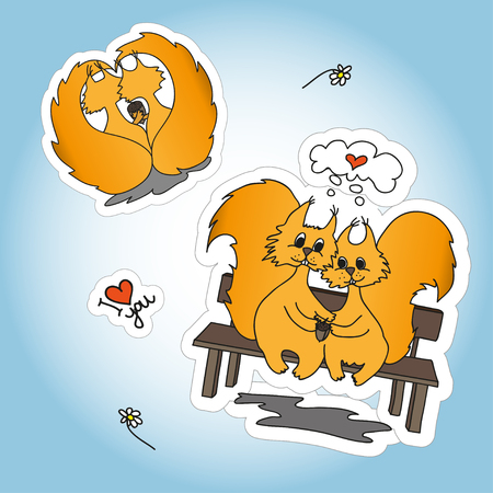 loved: Stickers with two loved doodling squirrel, set design for St.Valentine Day.