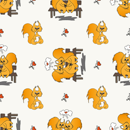 in loved: Seamless pattern with loved doodling squirrel, set design for St.Valentine Day.