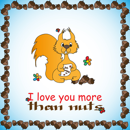 in loved: Design card with loved doodle squirrel and nuts and text for St. Valentine Day