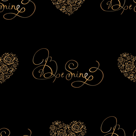 be mine: Seamless pattern with golden foil hearts and lettering -  Be mine. Royal vector for St. Valentine Day, weddind or loved