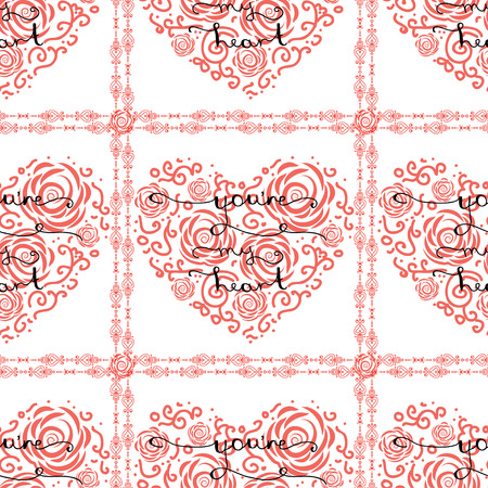 re: Vintage seamless pattern with heart and lettering You re my heart - handmade calligraphy, for romantic cards or party invitations for Valentine Day, wedding