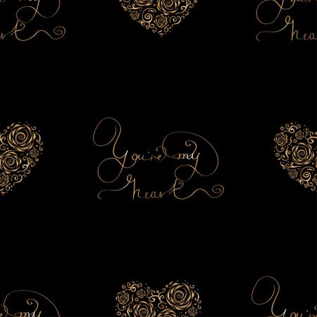 luxo: Seamless com corações folha dourada e letras - Você é meu coração. vector real para o Dia dos Namorados St., weddind ou amou