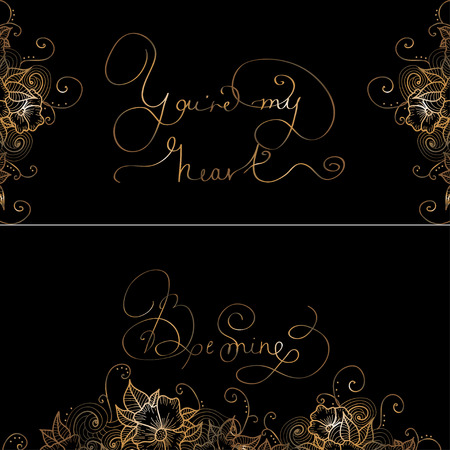re design: Two design card with original hand lettering - You re my heart-Be mine -  for romantic cards or invitations for Valentine Day, wedding, Mother Day