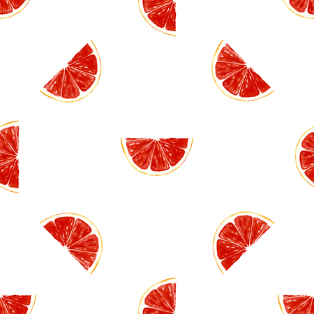 grapefruit: Seamless pattern with fresh ripe slice of grapefruit. Hand drawing watercolor design. Healthy food. Vector illustration