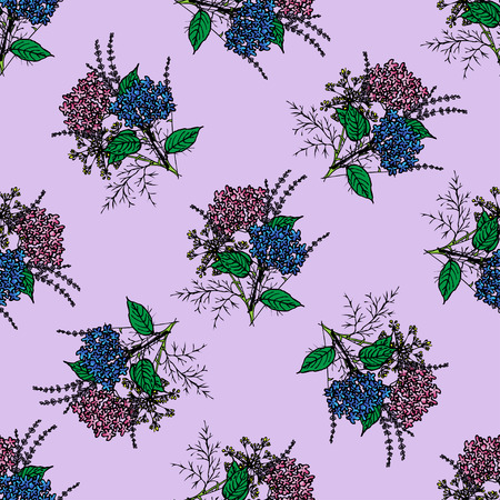 provence: Seamless pattern with spring provence flowers - lavender, hydrangea . Floral design for Valentine Day, wedding, loved Illustration