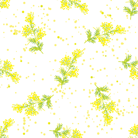 a sprig: Seamless vintage spring pattern with beautiful sprig of mimosa, Design for International Women Day, March 8, wedding, Easter or other holidays Illustration
