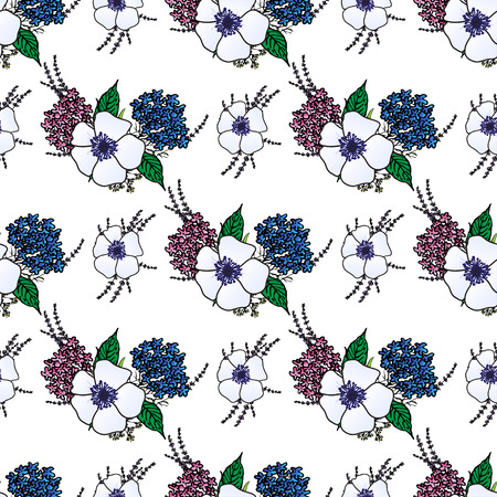 provence: Seamless pattern with spring provence flowers - lavender, anemones, hydrangea . Floral design for Valentine Day, wedding, loved