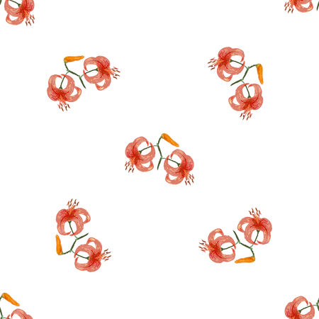 tiger lily: Seamless vintage patterns with flowers tiger lily