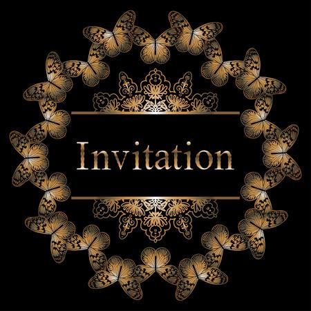 luxo: cartão de convite VectorCircle com ouro borboleta, fronteira e padrão. modelos reais de prémio para web, design de mídia impressa, casamento ou amou Ilustração