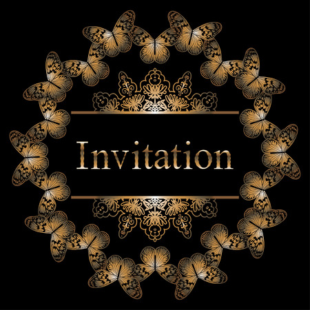 VectorCircle invitation card with golden butterfly, border and pattern. Premium royal templates for web, printed media design, wedding or loved