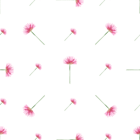 sloppy: Seamless pattern with watercolor pink flowers. Sloppy strokes of a paint. Illustration