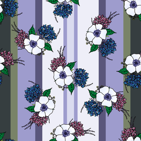 provence: Vertical seamless pattern with spring provence flowers - lavender, hydrangea, anemones on the striped background. Floral design for Valentine Day, wedding, loved, Womens day. For wallpaper, textile
