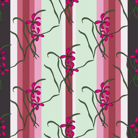 sumi e: Vertical seamless pattern with beautiful chinese orchid on the striped pink background. Floral design of floral in sumi-e technique for Valentine Day,wedding, loved,Womens day.For wallpaper, textile