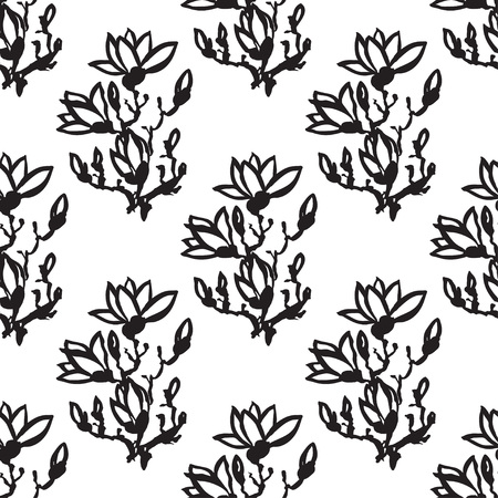 sumi e: Seamless spring pattern with black drawing twig magnolia in chinese or japanese style. Vector asian design for textile, wallpaper, package, coloring
