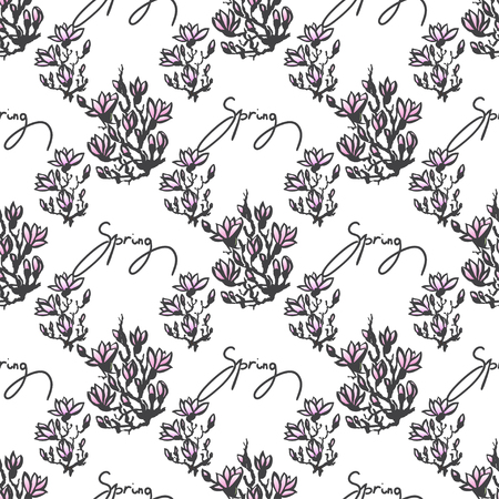 sumi e: Seamless spring pattern with drawing twig pink magnolia and lettering -spring- in chinese or japanese style. Vector asian design for textile, wallpaper, package