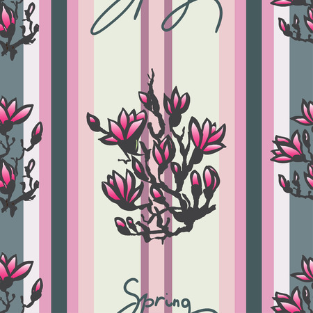 sumi e: Seamless spring pattern with drawing twig pink magnolia and lettering -spring- on retro pink striped background in chinese or japanese style. Vector asian design for textile, wallpaper, package
