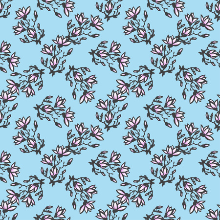 sumi e: Seamless spring pattern with drawing twig magnolia on blue background in chinese or japanese style. Vector asian design for textile, wallpaper, package