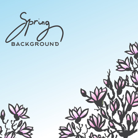 sumi e: Spring background with blossom brunch of  Magnolia and lettering -spring. Template Vector.Vintage design of card for international womens day, eight March, wedding, loved