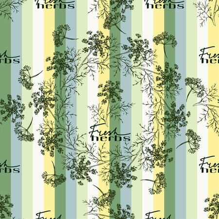 fresh herbs: Seamless pattern with drawing vintage dill or fennel and text - fresh herbs on the green striped background. Vector herb food ingredients, green organic spice, healthy vegan food