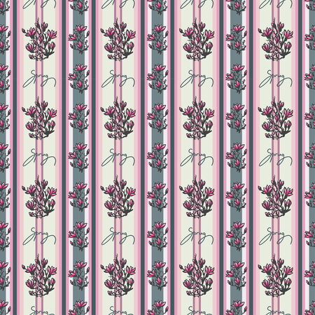sumi e: Seamless spring pattern with drawing twig pink magnolia and lettering -spring- on retro pink striped background in chinese or japanese style. Asian design for textile, wallpaper, package Stock Photo