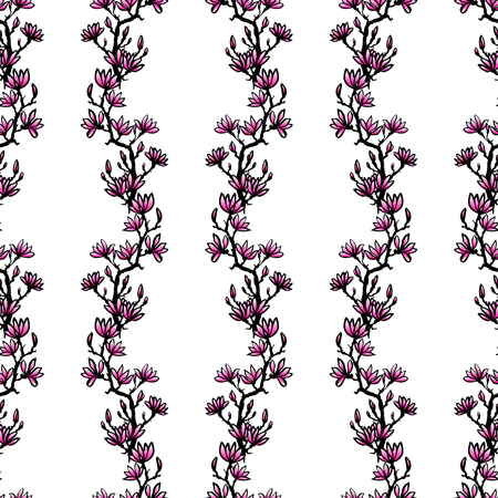 sumi e: Seamless spring pattern with drawing twig pink magnolia in chinese or japanese style. Vector asian design for textile, wallpaper, package