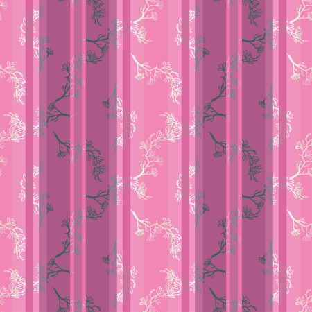 sumi e: Seamless spring pattern with drawing twig pink magnolia on retro pink striped background in chinese or japanese style. Vector asian design for textile, wallpaper, package