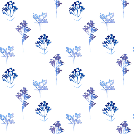 Seamless floral pattern. Blue twigs, leaves, foliage and circles on a white background, watercolor, ink. Illustration