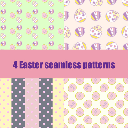 vocation: set Easter seamless pattern with colorful eggs. Holiday design for easter background, textile, wallpapers, easter packaging. illustration Illustration