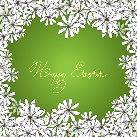 chamomiles: Spring design of card with frame from flowers chamomiles and lettering Happy Easter on the green background.  spring flower ,spring flower card