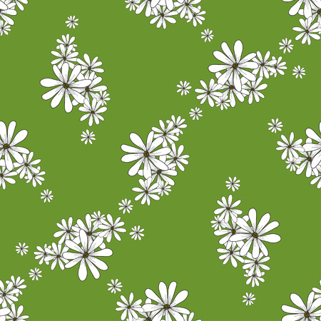 march 8: Spring seamless pattern with flowers chamomiles on the green background. vector spring flower background for wallpapers, textile, packaging on Easter, Womens day, Birthday, march 8