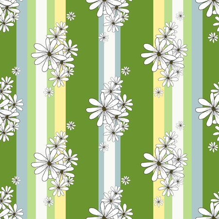 chamomiles: Spring retro seamless pattern with flowers chamomiles on the striped green background. vector vintage spring background for wallpapers, textile, packaging on Easter, Womens day, Birthday, march 8