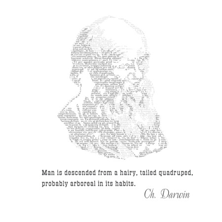 darwin: Charles Darwin typographic design with citat- an English naturalist and scientist of evolution. Print for t-shirt, switshot, textile, poster, packaging and other