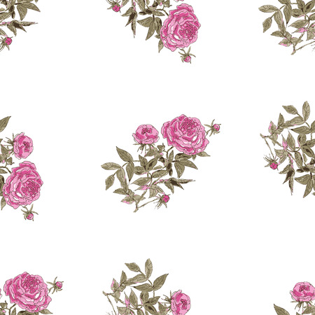 decoupage: Watercolor seamless pattern with vintage or retro pink flowers and buttons of peony.  illustration. Design of textile, packaging, backgrounds for decoupage