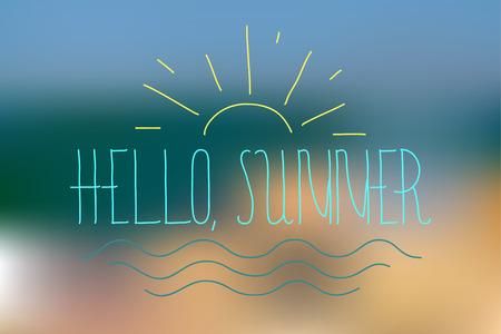 Sommer Hintergrund mith Schriftzug. Text - Hallo Sommer. Sommer-Schriftzug. Sommer-Karte für Beruf, Tourismus, Tapete, Plakat, Urlaub