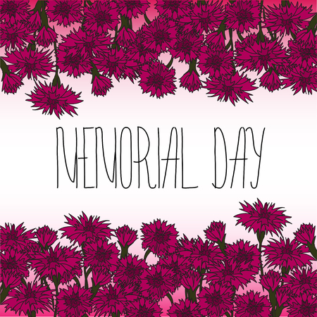 cite: Memorial day card with Memorial day card with lettering and red carnation flowers. Text - Memorial Day. Frame for Memorial Day design. Illustration