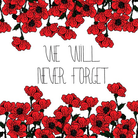 Design-Karte für Memorial Tag mit Schriftzug und roten Mohnblumen Blumen. Text - Memorial Day. Rahmen für Memorial Day Design.