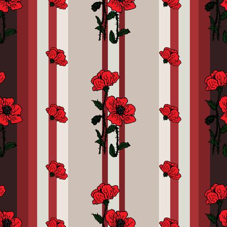 pring: Summer or spring design of  Seamless floral pattern with red flowers of poppies on the retro striped background. spring flower retro pring vintage card, wallpapers, textile, packaging