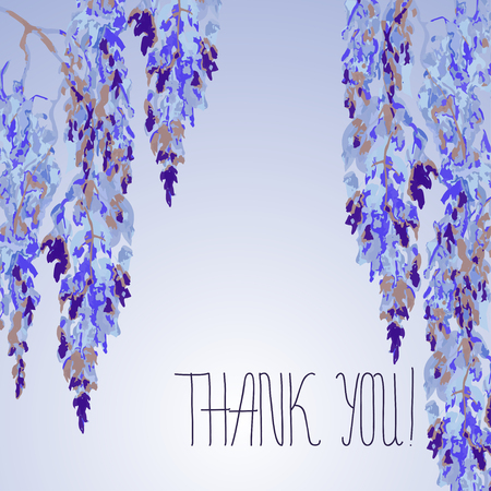 sumi e: Watercolor floral design of card with Wisteria flowers in chinese style and hand lettering - Thank you. Vector background. Chinese and japanese sumi e design for weddind, invitation card, thanksgiving Illustration