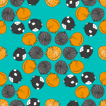 childrens day: Cute seamless pattern with cartoon sleeping cats made in vector. Design for children textile, wallpapers, packaging. Vector illustration for childrens day, june 1, birthday