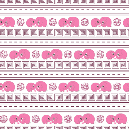 childrens day: Cute horizontal seamless pattern with cartoon pink elefants made in vector. Design for children textile, wallpapers, packaging. Vector illustration for childrens day, june 1, birthday