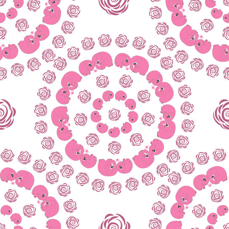 childrens day: Cute seamless circle pattern with pink cartoon elefants made in vector. Design for children textile, wallpapers, packaging. Vector illustration for childrens day, june 1, birthday