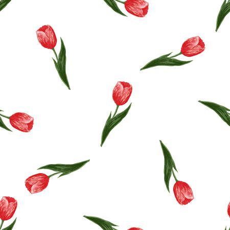 march 8: Seamless floral pattern with tulips on white background. Vector for wallpapers, textile, pattern fills, web page, surface textures. Holidays design of wedding, womens day, march 8, mothers day