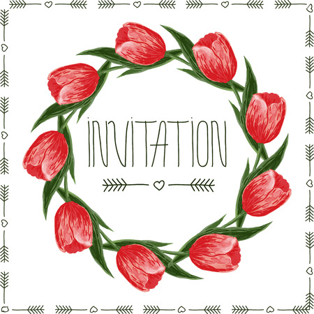 march 8: floral design of circle invitation card with wreath from tulips and hand lettering text. Vector for wallpapers,invitation, wedding. Holidays design for womens day, march 8, mothers day