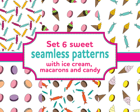 sweety: set of seamless patterns with cartoons ice cream, sweety, macarons and candies. Vector illustration.Sweet design for children textile and clothes, wallpapers, packaging, birthday background Illustration